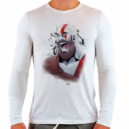 Camiseta Branca Manga Longa God Of War 4 Kratos