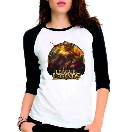 Camiseta League Legends Lee Sin Punhos Raglan Babylook 3/4