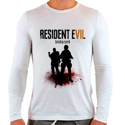 Camiseta Branca Longa Game Resident Evil 7 Re Vii