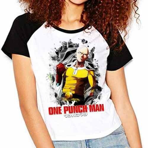 Camiseta Anime One Punch Man Saitama Raglan Babylook