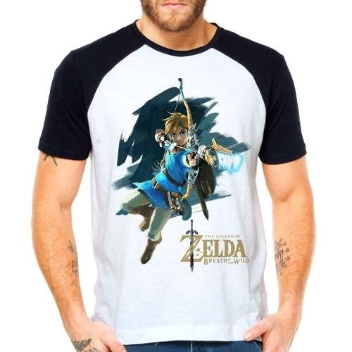 Camiseta Zelda Breath Of The Wild Raglan Manga Curta