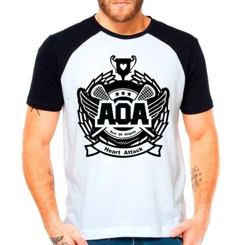 Camiseta Aoa Ace Of Angels Kpop Raglan Manga Curta