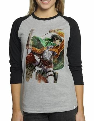 Camiseta Attack On Titan Levi V02 Raglan...
