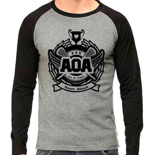 Camiseta Ace Of Angels Aoa Kpop Raglan Mescla