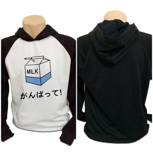 Casaco Blusa Moletom Japanese Milk Cute Kawaii