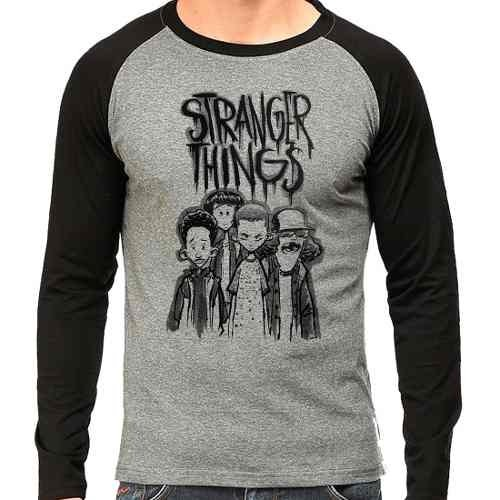 Camiseta Stranger Things Raglan Mescla