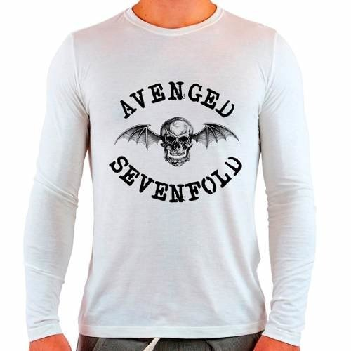 Camiseta Branca Longa Avenged Sevenfold Rock