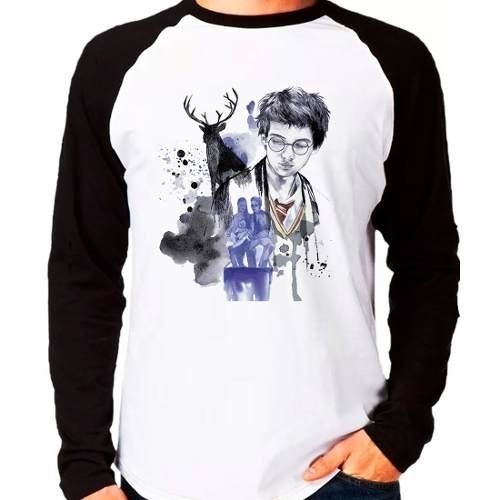 Camiseta Harry Potter Marotos Tiago James Raglan Manga Longa