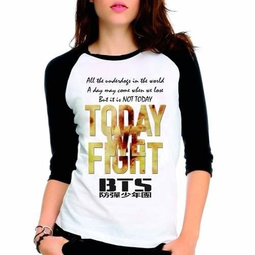 Camiseta Kpop Bts Bangtan Boys Not Today Raglan Babylook 3/4