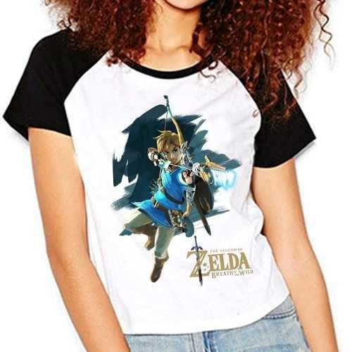 Camiseta Zelda Breath Of The Wild Raglan Babylook