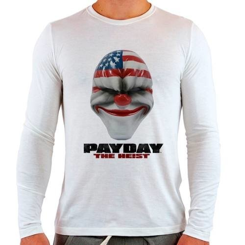 Camiseta Branca Longa Pay Day Payday The Heist