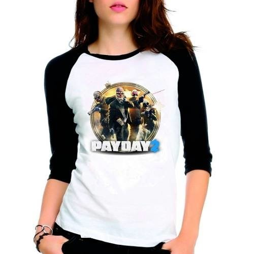 Camiseta Pay Day 2 Payday2 Raglan Babylook 3/4