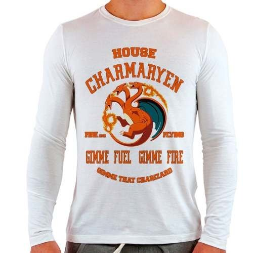 Camiseta Branca Longa Pokemon Charmander Game Of Thrones