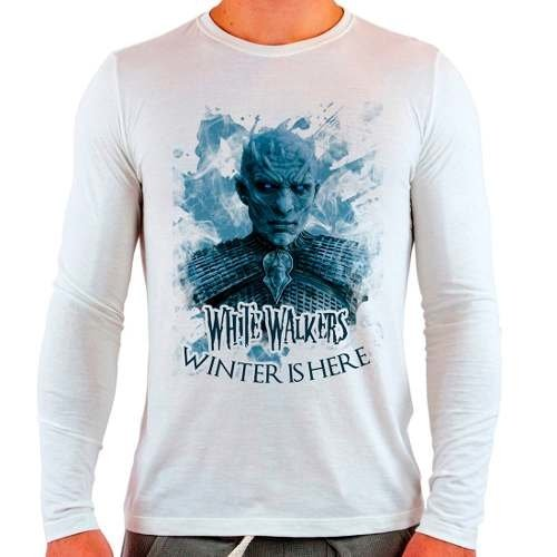 Camiseta Branca Longa Game Of Thrones White Walkers