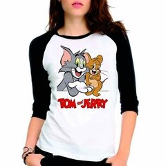 Camiseta Tom E Jerry Raglan Babylook 3/4