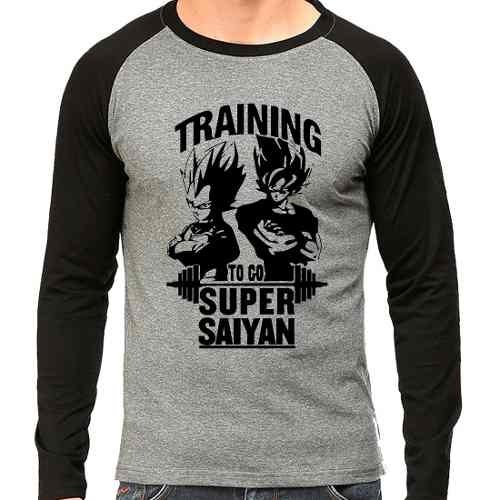 Camiseta Dragon Ball Training To Super Saiyan Raglan Mescla