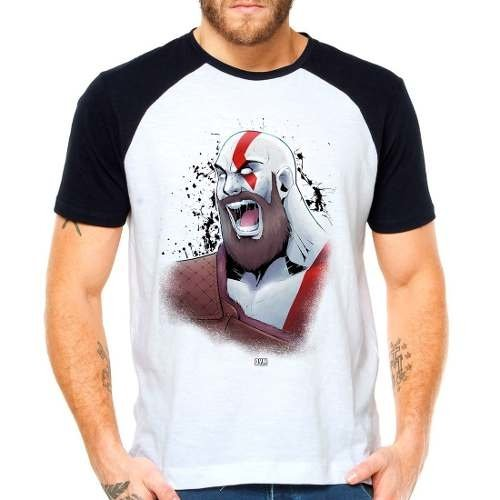 Camiseta God Of War 4 Kratos Raglan Manga Curta