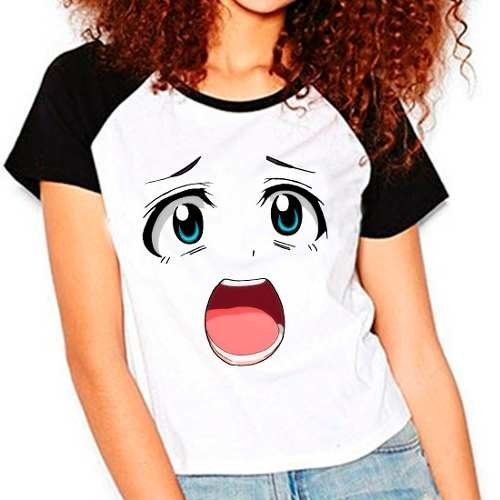 Camiseta Raglan Babylook Anime Otaku Smile Face Cute