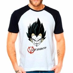 Camiseta Dragon Ball Z V For Vegeta Raglan Manga Curta
