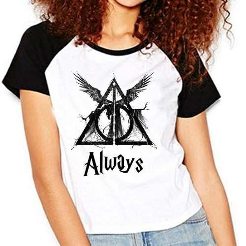 Camiseta Harry Potter Hp Reliquias Da Morte Raglan Babylook