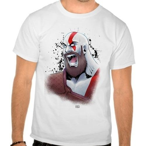 Camiseta Branca God Of War 4 Kratos