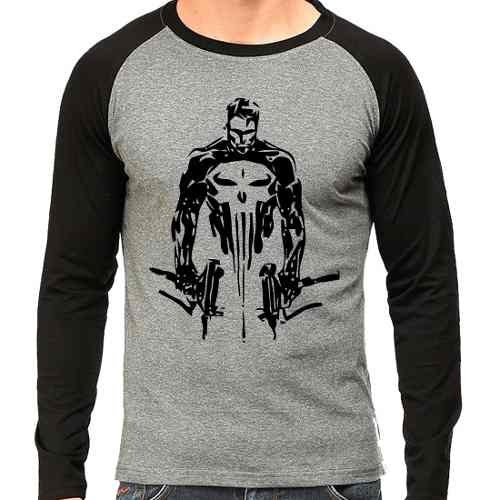 Camiseta Marvel Punisher Justiceiro Raglan Mescla