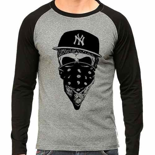 Camiseta Ny New York Gangsta Raglan Mescla