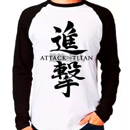Camiseta Raglan Anime Attack On Titan Shingeki No Kyojin