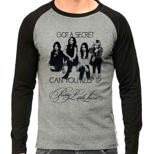 Camiseta Pretty Little Liars Pll Got A Secret Raglan Mescla