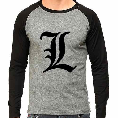Camiseta Death Note L Lawliet Birthday Raglan Mescla