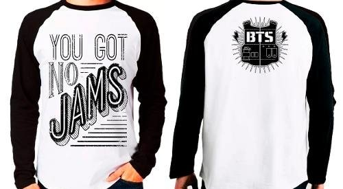 Camiseta Blusa Raglan Manga Longa Kpop Bts You Got No Jams