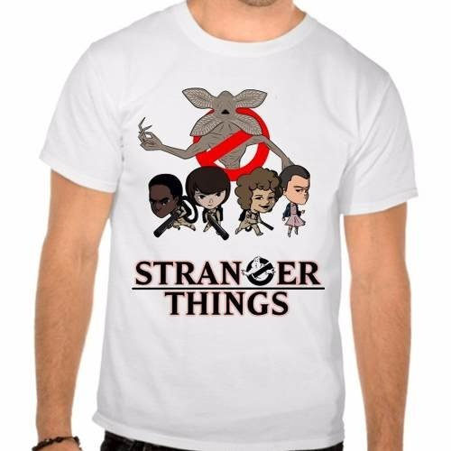 Camiseta Branca Stranger Things Ghostbusters Demogorgon