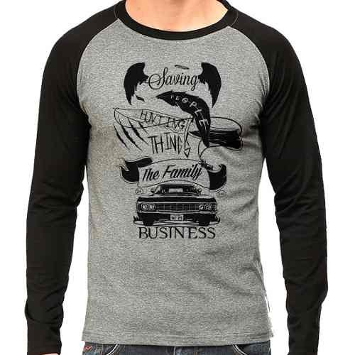 Camiseta Supernatural Spn Hunting Things V02 Raglan Mescla