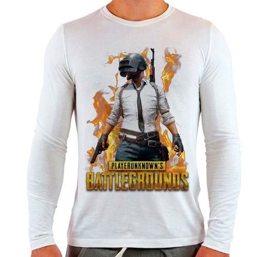Camiseta Branca Longa Playerunknown's Battlegrounds
