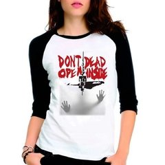 Camiseta The Walking Dead Twd Don't Open Raglan Babylook 3/4