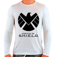 Camiseta Branca Longa Agents Of Shield Marvel