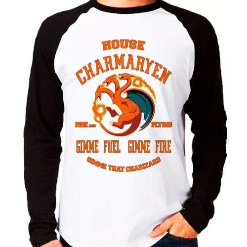 Camiseta Pokemon Charmander Game Of Thrones Raglan Longa