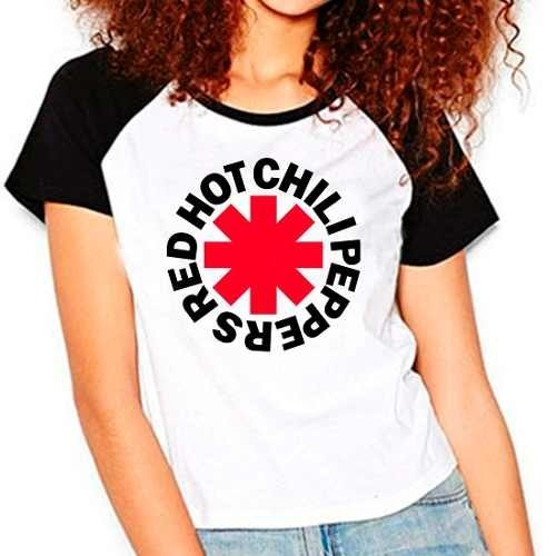 Camiseta Red Hot Chili Peppers Rock Raglan Babylook