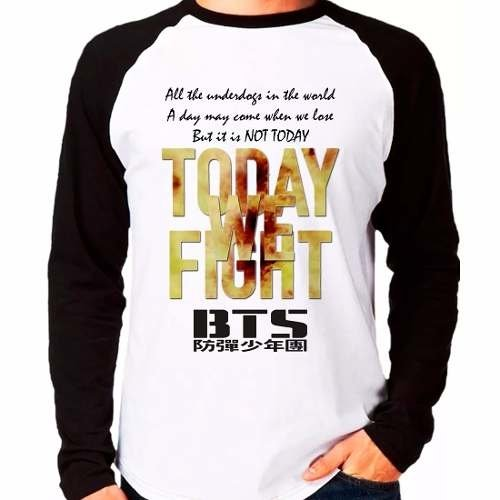 Camiseta Bts Bangtan Boys Not Today Kpop Raglan Manga Longa