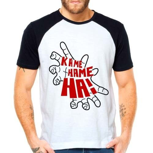 Camiseta Dragon Ball Kame Hame Ha Raglan Manga Curta