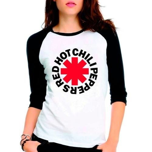 Camiseta Red Hot Chili Peppers Rock Raglan Babylook 3/4