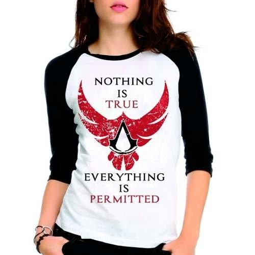 Camiseta Assassins Creed Nothing Is True Raglan Babylook 3/4