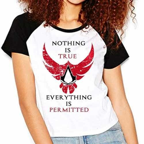 Camiseta Assassins Creed Nothing Is True Raglan Babylook