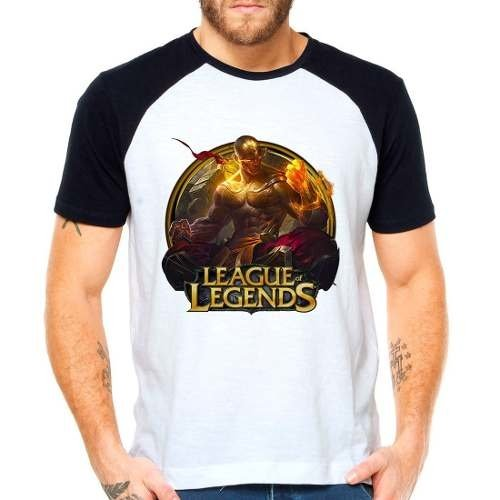 Camiseta Lol League Of Legends Lee Sin Punhos Raglan M.curta