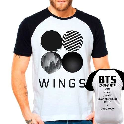 Camiseta Bangtan Boys Bts Wings Integrantes Kpop Raglan