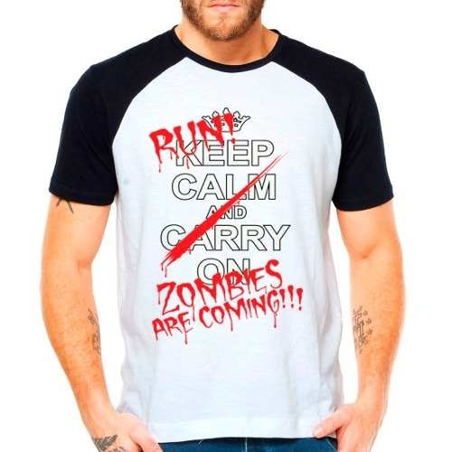 Camiseta Raglan Zombie Run Terror Hunt Survivor Death