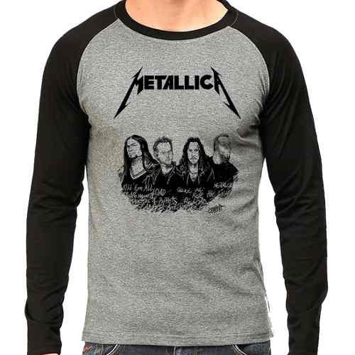 Camiseta Metallica Integrantes Rock Raglan Mescla