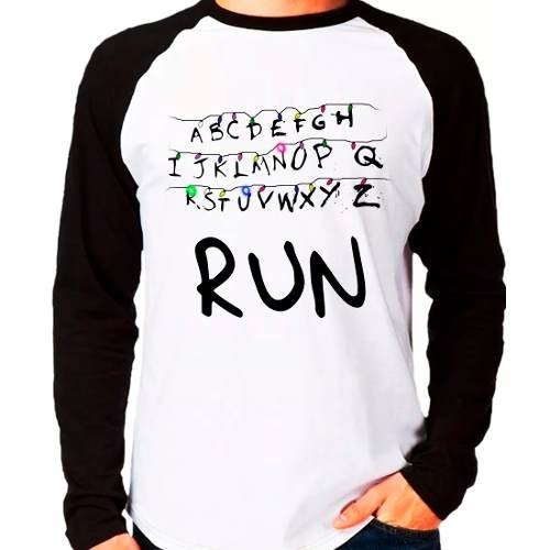 Camiseta Stranger Things Run Série Raglan Manga Longa
