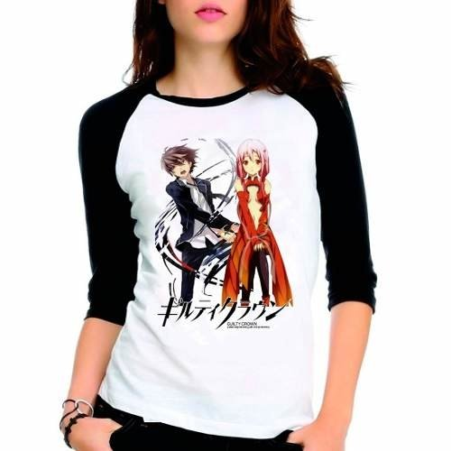 Camiseta Anime Guilty Crown Raglan Babylook 3/4