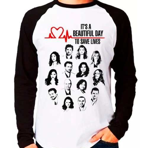 Camiseta Grey's Anatomy Beautiful Day Save Lives Raglan Long